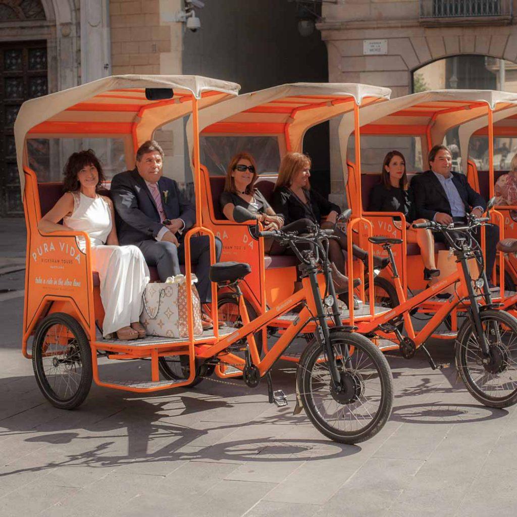 Bruiloft met een rickshaw in Barcelona